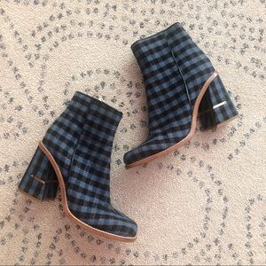 Tibi Checkered Plaid Ankle Boots